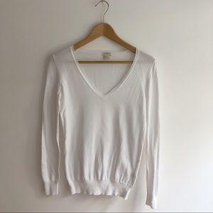 J.crew v-neck white lightweight sweater. Sz XXS.